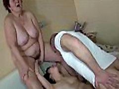 OldNanny Old famly orgy porn grandma and cute girl use big double dildo
