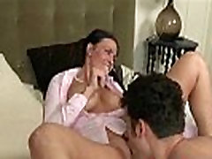 Two horny women take turns fucking dude in the bedroom
