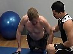 Muscular beefy patient and dr gives bj