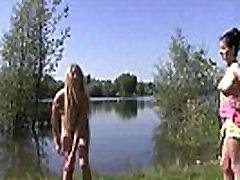 Teen babes outdoor rub