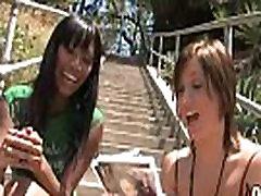 Hot ebony chick in interracial gangbang 2