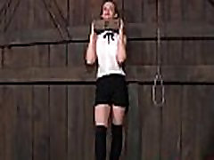 BDSM sub Hazel Hypnotic neck tied up