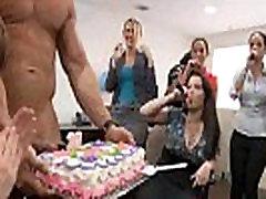 24 Rich milfs blowing strippers at underground cfnm party!38