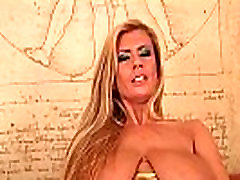 Big titted soccer mom is toying her shaved pussy