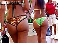 Candid big booty Latinas walking in skimpy thong bikinis showing ass in public!