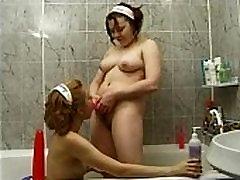 Cute Teen Lesbians Take Bath