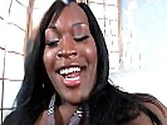 Ebony shemale cums after masturbating