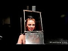 kagura blowjobs babe with head in steel box spaked