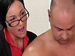 Group of British CFNM women strip businessman