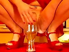huge wine carafe pussy insertion