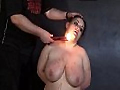 Amateur titty fuck lollypop and hot wax punishment of mature bbw slaveslut in extremes