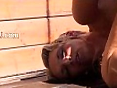 Dildoing and opening her cunt on terrace