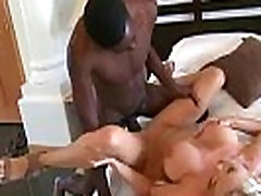 Hot MILF deepthroats gags and gets banged by a black cock 28