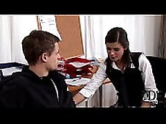 Sexy young Little Caprice doing a blowjob & gets cumshot