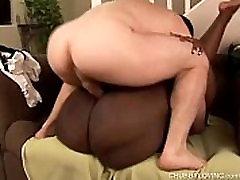 Beautiful busty black BBW Dynasty fucks a lucky white guy