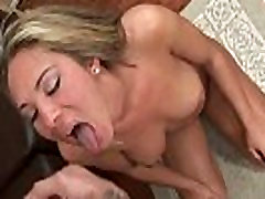 Awesome blonde babe sucks stiff rod