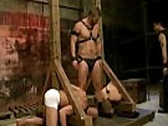Slaves sucking the master&039s cock, enduring whips, canes, and electricity