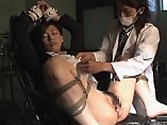 Asian bondage babe tied up with pussy spread wide