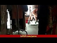 Amateur girl spyed on hidden camera sex with HUGE cock inside her petite body 9