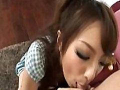 Asian schoolgirl sucking small dick