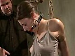 Hogtied and gagged new girls rep whore getting whipped