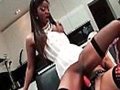 Hot ebony babe goes crazy riding