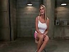 Tied up busty blonde hard flogged and anal pounded in public