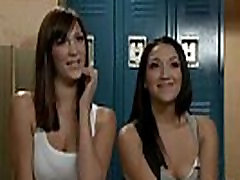 Three lesbians anal fucking with huge dildo and fiting in locker room