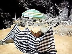 French nudiste masturbates on The Beach
