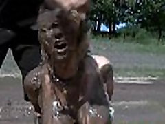 Outdoor mom and son sery Mud Slave Disgrace