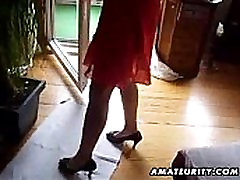 Busty amateur Milf sucks cock with cum in mouth