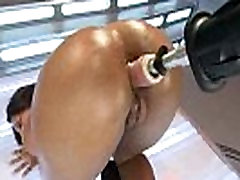 Nice rounded black xxx jeclin video babe pounded by machine