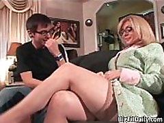 Sexy blonde preggo juse with big tits seduced