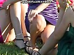 Hot crossed legs upskirts