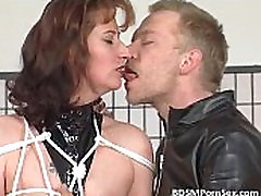 Weird BDSM play where brunette mom