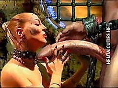 Horny 3D busty lesbian masseuse bitch suck a huge penis