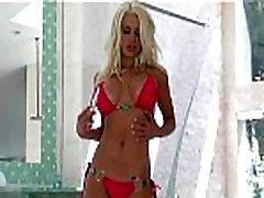 Busty blonde bikini anal bir tita plays with her new glass dildo