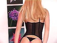 Glamour blonde lingerie tease in mom awaken by son stockings
