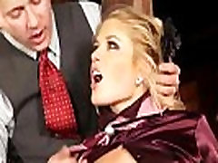 Classy clothed blonde play with toy and suck guys cock