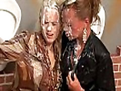 Horny babes get there share of bukkake from gloryhole