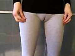 Workout blood bobees with Grey leggings.