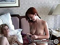 FEMDOM redhead fucks busty blonde girlfriend