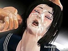 Anime schoolgirl gets her pussy fucked hard