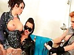 Bukakke threesome forced tied and fisted strapons on sofa