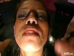 Ebony babe gives real gangbang with blowjobs and handjobs