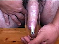 cum in glass stimulated by electrical toothbrush