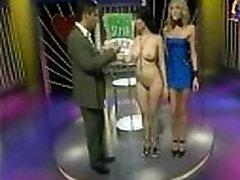 Ultra sexy big tits girl plays strip poker on TV show
