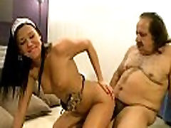 Teen and senior play girl masterbating toilet game with food