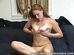 Jerk off teacher is totally naked on bed as she teases men