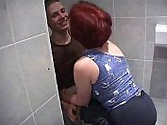 Mature women fuck much younger boy in bathroom